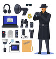 detective items near spy or investigation officer vector image