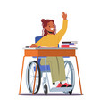 disabled girl character in wheelchair sitting