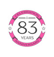 eighty three years anniversary celebration logo vector image vector image