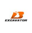 excavator logo template - letter b vector image vector image