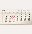 february 14 2018 valentine s day calendar vector image