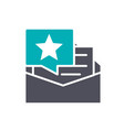 feedback letter with star colored icon client vector image