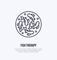 fish therapy line icon spa peeling service vector image vector image