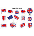 flag great britain big set icons and vector image