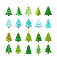 flat christmas winter trees with festive xmas vector image