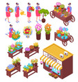 florist isometric elements set vector image vector image