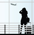 girl with a travel bag at the airport vector image vector image