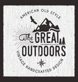 great outdoors card wanderlust camping badge vector image vector image
