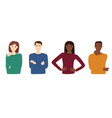 group multiracial people on white background vector image