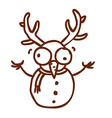 Hand Drawn Snowman with Antlers vector image vector image