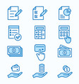 investments money flat line icon set vector image