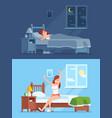 lady sleeping under duvet at night waking up vector image vector image