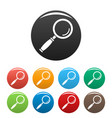 magnify glass icons set color vector image
