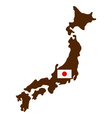 map of Japan with flag vector image vector image