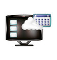 monitor with cloud computing and calendar vector image vector image