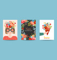 mothers day greeting card set spring happy mother vector image vector image