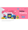online shopping concept over paper packages money vector image
