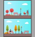 people in autumn season park freelancer laptop vector image vector image