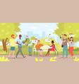 people use smartphones in city park cartoon flat vector image vector image