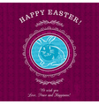 Purple greetings card for Easter Day with rabbit vector image vector image