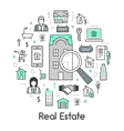 Real Estate Thin Line Icons Set with Agent vector image vector image