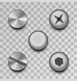 realistic glossy metal screws and rivets on vector image vector image
