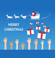 santa claus give many gifts to children vector image