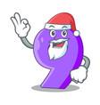 santa paper cut number nine letter mascot vector image