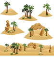 set elements to design desert landscape scenes vector image vector image