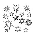 set hand drawn stars vector image