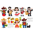 set of characters in cartoon style on mexican vector image vector image