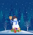 snowman christmas scene vector image