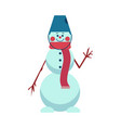 snowman waving stick hand vector image vector image