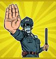 stop hand gesture robot policeman vector image