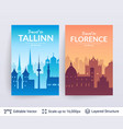 tallinn and florence famous city scapes vector image vector image