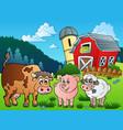 three farm animals near barn vector image