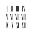 twelve narrow roman numeral set for roman vector image