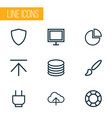 user icons line style set with download socket vector image vector image