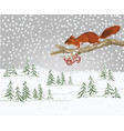 winter landscape forest with snow and squirrel vector image vector image