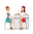 young women in manicure vector image vector image