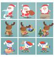 Cute christmas characterSnata claus elf snowman vector image