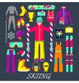 Winter Equipment for Skiing Icons Set vector image