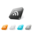 3d web button with rss icon vector image vector image