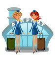 airport building and flight attendant girls in vector image