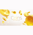 banner realistic gold coins flying gray vector image vector image