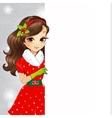 Beautiful Brunette Santa Girl Holding Banner vector image vector image