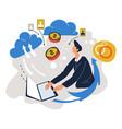 businessman working online with laptop freelancer vector image