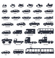 car motorcycle and public transport type icons vector image