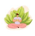 cartoon flat with meditating vector image