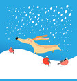 christmas card funny dog vector image vector image